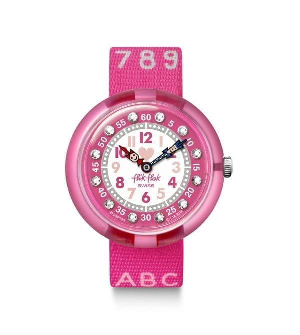 Flik Flak Pink AB34 Quartz Textile Strap Time Teacher Girls Watch FBNP133