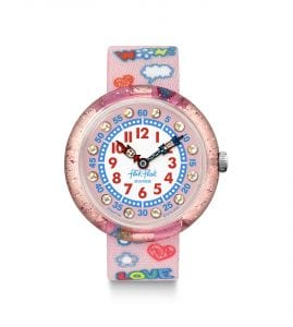 Flik Flak Wow Love Quartz Pink Textile Strap Time Teacher Girls Watch FBNP135