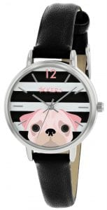 Tikkers Quartz Rose Silver Stainless Steel Black Leather Strap Girls Watch TK0174