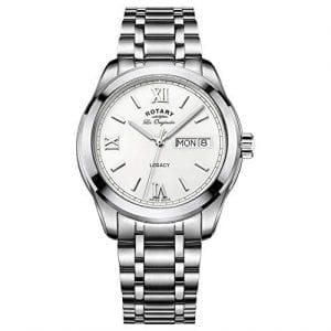 Rotary Legacy Swiss Made Quartz Silver Stainless Steel White Dial Men's Watch GB90173/01