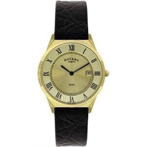 Rotary Ultra Slim Gold PVD Stainless Steel Case Black Leather Strap Men's Watch GS08002/10