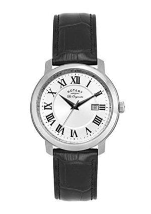Rotary Les Originales Quartz White Dial Silver Steel Case Leather Strap Men's Watch GS90090/06