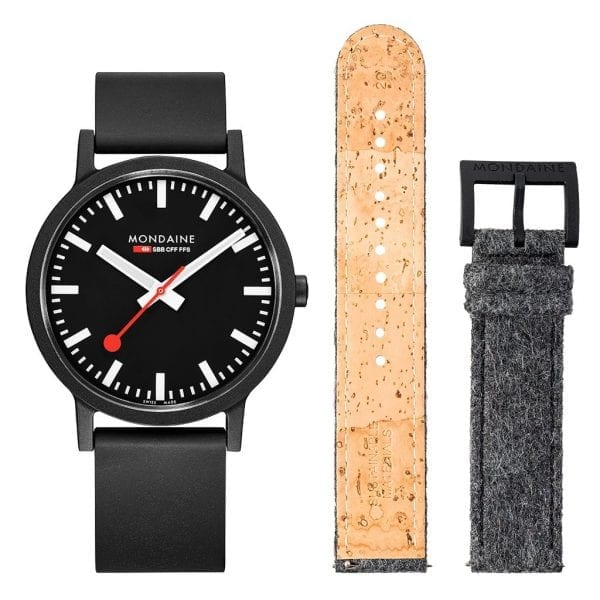 Mondaine Official Swiss Railways Essence Quartz Men's Watch Set MS1.41120.RB.SET