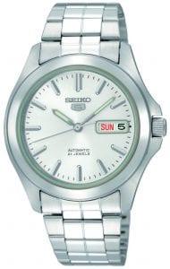 Seiko 5 Automatic White Dial Silver Stainless Steel Men's Watch SNKK87K1