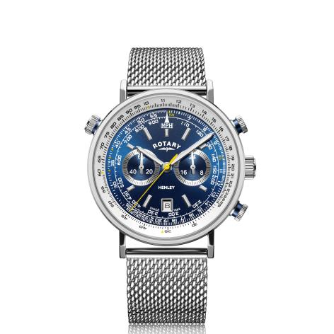 Rotary Henley Quartz Silver Stainless Steel Blue Dial Chronograph Men's Watch GB05235/05