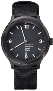 Mondaine Helvetica Black IP Plated Case Black Nylon Strap Men's Watch MH1.B1221.NB 43mm