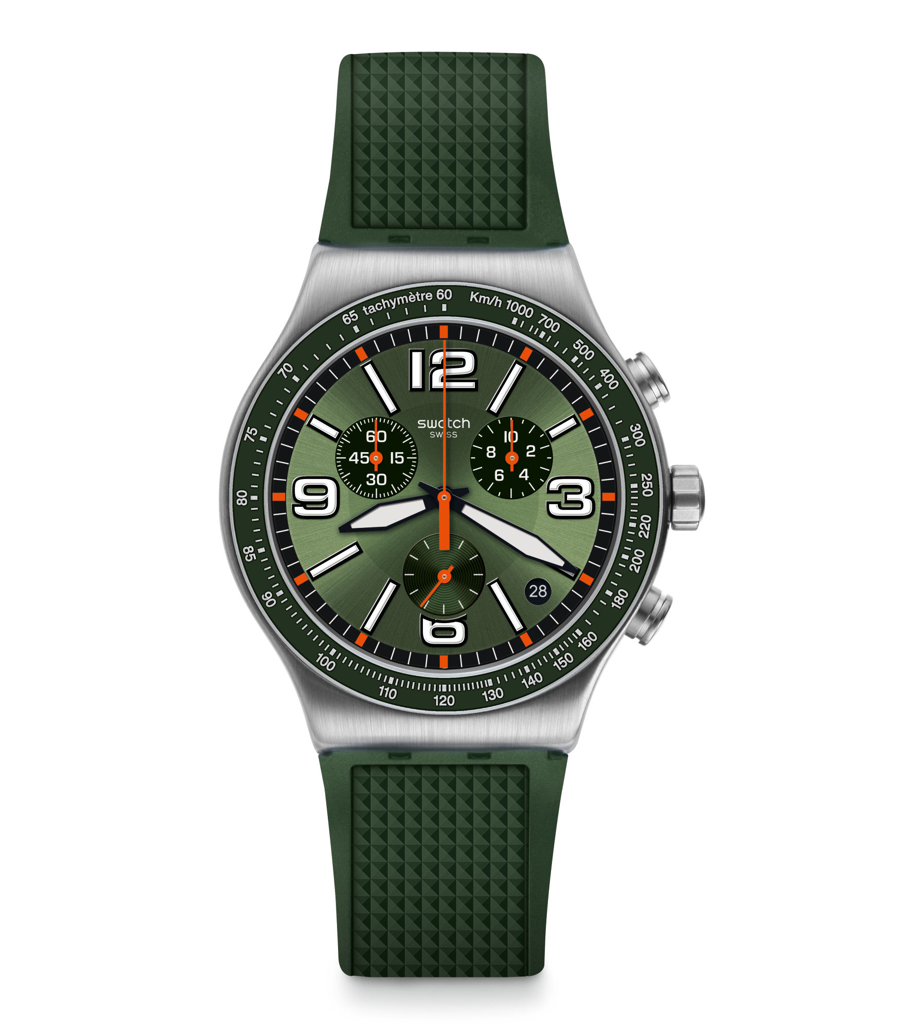 Swatch Irony Forest Grid Quartz Green Silicone Strap Stainless Steel Case Men's Watch YVS462