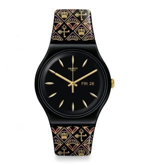 Swatch New Gent Royal Key Quartz Black Gold Silicone Strap Watch SUOB730