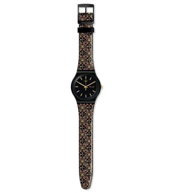 Swatch New Gent Royal Key Quartz Black Gold Silicone Strap Watch SUOB730
