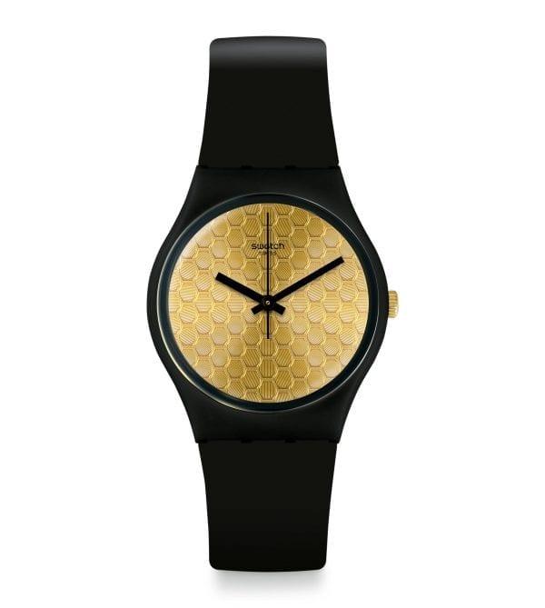 Swatch Gent Arthur Quartz Gold Dial Black Silicone Strap Watch GB323