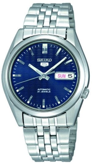 Seiko 5 Automatic Blue Dial Stainless Steel Men's Watch SNK357K1Driven by a 21-jewel automatic movement, this Seiko 5 Automatic Blue Dial Stainless Steel Men's Watch (SNK357K1) also features a day-date window and a sleek stainless steel bracelet and case.Key Features:Exclusive Seiko 7S26 Calibre21-Jewel Automatic MovementLuminous Hands and MarkersOpen Case BackDay-Date WindowWater Resistant to 30mThe Family: Seiko 5The Seiko 5 family has set the standard in affordable, rugged and stylish watches since 1963. Designed to be simple but serious, the Seiko 5 is so-called due to its five key attributes: automatic winding, displaying the day and date in a single window, water resistance, a recessed crown at the 4 o'clock position and a durable metal bracelet. Released in order to meet the demands of the revolutionary baby-boomer generation, the Seiko 5 collection is just as popular to this day, proof that expert craftsmanship and elegant design will never go out of fashion.The Brand: SeikoSeiko's 135-year history has been marked by a ceaseless determination to innovate in every aspect of the watchmaker's art. By embracing this mantra, Seiko has been responsible for a string of industry-leading advances in the technology of time, such as the world's first quartz watch, the world's first TV watch, and the Seiko Kinetic, the first watch ever to generate its own electricity from the movement of the wearer. Seiko are unique in that they manufacture every aspect of every watch in-house, with this ruthless pursuit of perfection even including growing their own quartz crystals and sapphires.