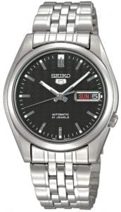 Seiko 5 Automatic Black Dial Silver Stainless Steel Men's WatchThis Seiko 5 Automatic Black Dial Silver Stainless Steel Men's Watch is a classic addition to the Seiko 5 family. A black dial is complimented by silver hands and indexes. The hands are powered by an exclusive 7S26 21 jewel calibre automatic engine to keep the watch in perfect time. A day and date window appear at the 3 o'clock with the Seiko 5 logo just below the 12 o'clock position. A silver stainless steel case surrounds the dial with hardlex crystal glass sitting on top. A silver stainless steel bracelet can then be fastened using a simple fold over clasp.Finally, this watch has a water resistance of 30 metres, making it suitable for light splashes.Key Features:Exclusive Seiko 7S26 Calibre21-Jewel Automatic MovementLuminous Hands and MarkersOpen Case BackSpeedometer DialDay-Date WindowWater Resistant to 30mThe Family: Seiko 5The Seiko 5 family has set the standard in affordable, rugged and stylish watches since 1963. They incorporate simplicity, but seriousness. The name of the Seiko 5 derives from its five key attributes, which Seiko promised to include in every watch that belonged to the family. They are: automatic winding, displaying the day and date in a single window, water resistance, a recessed crown at the 4 o'clock position and a durable metal bracelet.1963 marked the year that the Seiko 5 acted as a catalyst in the horological revolution in automatic watchmaking. Even after being in the market for over 50 years, albeit the Seiko 5 still remains as cool and relevant as ever. Though this serves as proof that expert craftsmanship and elegant design will never go out of fashion.The Brand: SeikoCeaseless determination to innovate in every aspect of the watchmaker's art is what defines Seiko's 135-year history. By embracing this ethos, Seiko has been responsible for a string of industry-leading advances in the technology of time. Notably, the creation of the world's first quartz watch in 1969. Or equally impressive the creation of the world's first TV watch in 1982. And even more relevant today, with our abhorrent use of non-renewable energy sources, Seiko's Kinetic. This watch had the ability to generate its own power from the movement of the wearer, it was released in 1988. The listed technological developments serve as evidence to illustrate the revolutionary impact which Seiko has had on the watchmaking world. They are also markably unique in that they manufacture every aspect of every watch in-house.If you have any questions please click hereClick here to join our facebook and Instagram!