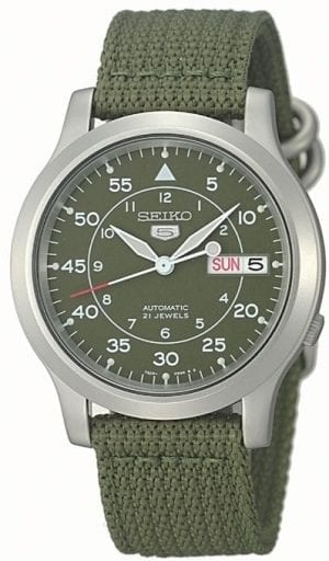 Seiko 5 Automatic Military Style Khaki Green NATO Strap Men's WatchThis Seiko 5 Automatic Military Style Khaki Green NATO Strap Men's Watch is another classic addition to the Seiko 5 family. A khaki green dial is complimented by white indexes and hands, of which are powered by a 7S26 calibre 21 jewel automatic movement. A day and date window is located at the 3 o'clock position with the Seiko 5 logo at the 12 o'clock position. Then, a silver stainless steel case surrounds the dial with hardlex crystal glass sat on-top. Finally, a green khaki canvas strap can be fastened using a standard buckle.This watch has a water resistance of 30 metres, making it suitable for light splashes.Key Features:Seiko 7S26 Calibre21-Jewel Automatic MovementOpen Case BackHardlex GlassDay-Date DisplayWater Resistant 30mKhaki Green Canvas StrapKhaki Green DialSilver Stainless Steel CaseStandard Buckle  The Family: Seiko 5The Seiko 5 family has set the standard in affordable, rugged and stylish watches since 1963. They incorporate simplicity, but seriousness. The name of the Seiko 5 derives from its five key attributes, which Seiko promised to include in every watch that belonged to the family. They are: automatic winding, displaying the day and date in a single window, water resistance, a recessed crown at the 4 o'clock position and a durable metal bracelet.1963 marked the year that the Seiko 5 acted as a catalyst in the horological revolution in automatic watchmaking. Even after being in the market for over 50 years, the Seiko 5 still remains as cool and relevant as ever. This serves as proof that expert craftsmanship and elegant design will never go out of fashion.The Brand: SeikoCeaseless determination to innovate in every aspect of the watchmaker's art is what defines Seiko's 135-year history. By embracing this ethos, Seiko has been responsible for a string of industry-leading advances in the technology of time. Notably, the creation of the world's first quartz watch in 1969. Or equally impressive the creation of the world's first TV watch in 1982. And even more relevant today, with our abhorrent use of non-renewable energy sources, Seiko's Kinetic. This watch had the ability to generate its own power from the movement of the wearer. The listed technological developments serve as evidence to illustrate the revolutionary impact which Seiko has had on the watchmaking world. They are also markably unique in that they manufacture every aspect of every watch in-house. They even grow their own quartz crystals and sapphires, hence why Seiko are renowned for being watchmaking experts.Also, if you have any questions please click hereClick here to join our facebook and Instagram!