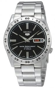 Seiko 5 Automatic Black Dial Silver Stainless Steel Men's WatchThis Seiko 5 Automatic Black Dial Silver Stainless Steel Men's Watch is a classic addition to the Seiko 5 family. A black dial is complimented by silver hands and indexes. The hands are powered by an exclusive 7S26 21 jewel calibre automatic engine to keep the watch in perfect time. A day and date window appear at the 3 o'clock with the Seiko 5 logo just below the 12 o'clock position. A silver stainless steel case surrounds the dial with hardlex crystal glass sitting on top. A silver stainless steel bracelet can then be fastened using a simple fold over clasp.Finally, this watch has a water resistance of 30 metres, making it suitable for light splashes.Key Features:Exclusive Seiko 7S26 Calibre21-Jewel Automatic MovementSeconds Counter BezelOpen Case BackDay-Date WindowWater Resistant to 30mThe Family: Seiko 5The Seiko 5 family has set the standard in affordable, rugged and stylish watches since 1963. Designed to be simple but serious, the Seiko 5 is so-called due to its five key attributes: automatic winding, displaying the day and date in a single window, water resistance, a recessed crown at the 4 o'clock position and a durable metal bracelet. Released in order to meet the demands of the revolutionary baby-boomer generation, the Seiko 5 collection is just as popular to this day, proof that expert craftsmanship and elegant design will never go out of fashion.The Brand: SeikoBy embracing this mantra, Seiko has been responsible for a string of industry-leading advances in the technology of time, such as the world's first quartz watch, as well as the world's first TV watch, and the Seiko Kinetic, which is the first watch ever to generate its own electricity from the movement of the wearer. Seiko are unique in that they manufacture every aspect of every watch in-house, because of their ruthless pursuit of perfection even including growing their own quartz crystals and sapphires.If you have any questions please click hereClick here to join our facebook and Instagram!