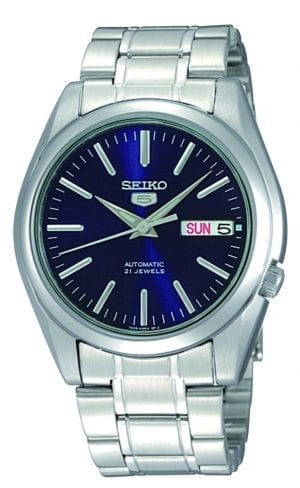 Seiko 5 Automatic Blue Dial Stainless Steel Men's WatchThis Seiko 5 Automatic Black Dial Stainless Steel Men's Watch SNKL43K1 is a classic addition to the Seiko 5 family. A dark blue dial is complimented by silver indexes and hands, of which are powered by an exclusive 7S26 calibre 21 jewel automatic movement. Also, a day and date window can be seen at 3 o'clock with the ever present Seiko 5 logo at the 12 o'clock position. Then, a silver stainless steel case surrounds the dial with hardlex crystal glass sat on-top. Finally, a silver stainless steel bracelet can be fastened using a deployment clasp.This watch has a water resistance of 30 metres, making it suitable for light splashes.Key Features:Exclusive Seiko 7S26 Calibre21-Jewel Automatic MovementOpen Case BackDay-Date WindowWater Resistant to 30mBlue DialSilver Stainless Steel CaseSilver Stainless Steel CaseHardlex Crystal GlassThe Family: Seiko 5The Seiko 5 family has set the standard in affordable, rugged and stylish watches since 1963. They incorporate simplicity, but seriousness. The name of the Seiko 5 derives from its five key attributes, which Seiko promised to include in every watch that belonged to the family. They are: automatic winding, displaying the day and date in a single window, water resistance, a recessed crown at the 4 o'clock position and a durable metal bracelet.1963 marked the year that the Seiko 5 acted as a catalyst in the horological revolution in automatic watchmaking. Even after being in the market for over 50 years, the Seiko 5 still remains as cool and relevant as ever. This serves as proof that expert craftsmanship and elegant design will never go out of fashion.The Brand: SeikoCeaseless determination to innovate in every aspect of the watchmaker's art is what defines Seiko's 135-year history. By embracing this ethos, Seiko has been responsible for a string of industry-leading advances in the technology of time. Notably, the creation of the world's first quartz watch in 1969. Or equ