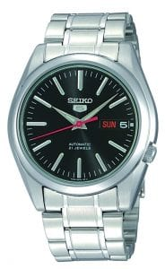 Seiko 5 Automatic Black Dial Silver Stainless Steel Men's WatchThis Seiko 5 Automatic Black Dial Stainless Steel Men's Watch SNKL45K1 is driven by a 21-jewel automatic movement. A black dial is complimented by silver indexes and hands, of which are powered by an exclusive 7S26 calibre 21 jewel automatic movement. The Seiko 5 logo appears at the 12 o'clock position with a day and date display at the 3 o'clock position. A silver stainless steel case provides the watch with rigid protection as well as hardlex crystal glass. Then, a silver stainless steel bracelet can be fastened using a deployment clasp.Finally, this watch has a water resistance of 30 metres, making it suitable for light splashes.Key Features:Exclusive Seiko 7S26 Calibre21-Jewel Automatic MovementOpen Case BackDay-Date WindowWater Resistant to 30mSilver Stainless Steel CaseDeployment ClaspSilver Stainless Steel BraceletBlack DialAnalogue DisplayThe Family:The Seiko 5 family has set the standard in affordable, rugged and stylish watches since 1963. They incorporate simplicity, but seriousness. The name of the Seiko 5 derives from its five key attributes, which Seiko promised to include in every watch that belonged to the family. They are: automatic winding, displaying the day and date in a single window, water resistance, a recessed crown at the 4 o'clock position and a durable metal bracelet.1963 marked the year that the Seiko 5 acted as a catalyst in the horological revolution in automatic watchmaking. Even after being in the market for over 50 years, albeit the Seiko 5 remains as cool and relevant as ever. Though this serves as proof that expert craftsmanship and elegant design will never go out of fashion.The Brand: SeikoCeaseless determination to innovate in every aspect of the watchmaker's art is what defines Seiko's 135-year history. By embracing this ethos, Seiko has been responsible for a string of industry-leading advances in the technology of time. Notably, the creation of the world's first q