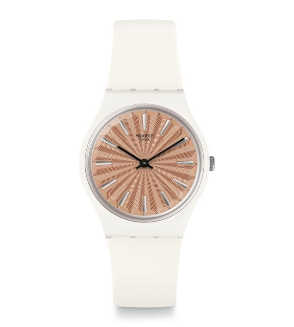 Swatch Gent Donzelle Quartz Rose Gold Dial White Silicone Strap Watch GW209