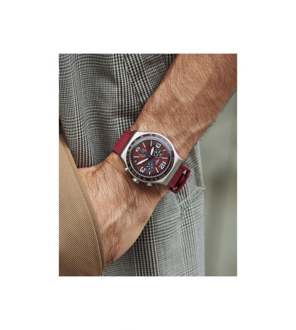 Swatch Irony Wine Grid Quartz Red Silicone Strap Stainless Steel Case Men's Watch YVS464