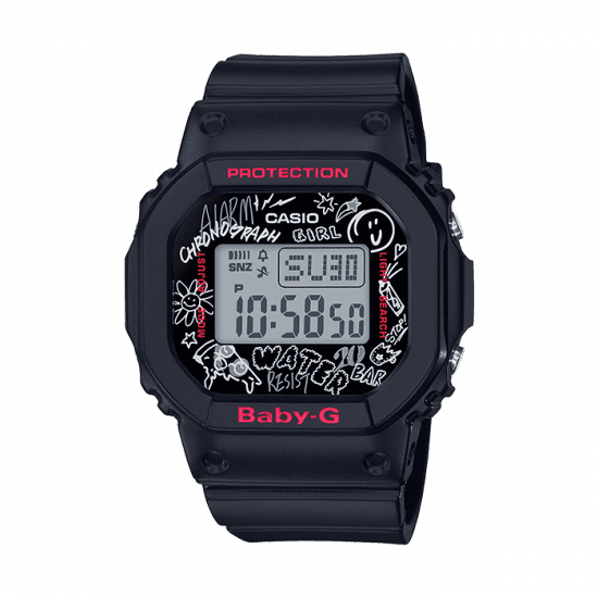 Casio Baby-G Graffiti Digital Quartz Retro Black Resin Ladies Watch BGD-560SK-1ER
