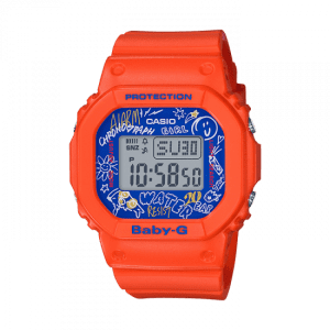 Casio Baby-G Graffiti Digital Quartz Retro Orange Resin Ladies Watch BGD-560SK-4ER