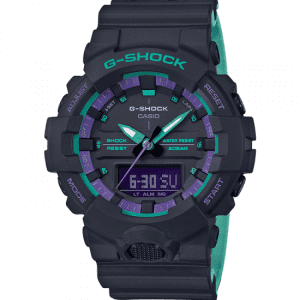 Casio G-Shock 90's Blue Purple Accent Black Resin Watch GA-800BL-1AER