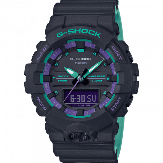 Casio G-Shock 90's Blue Purple Accent Black Resin Watch GA-800BL-1AER