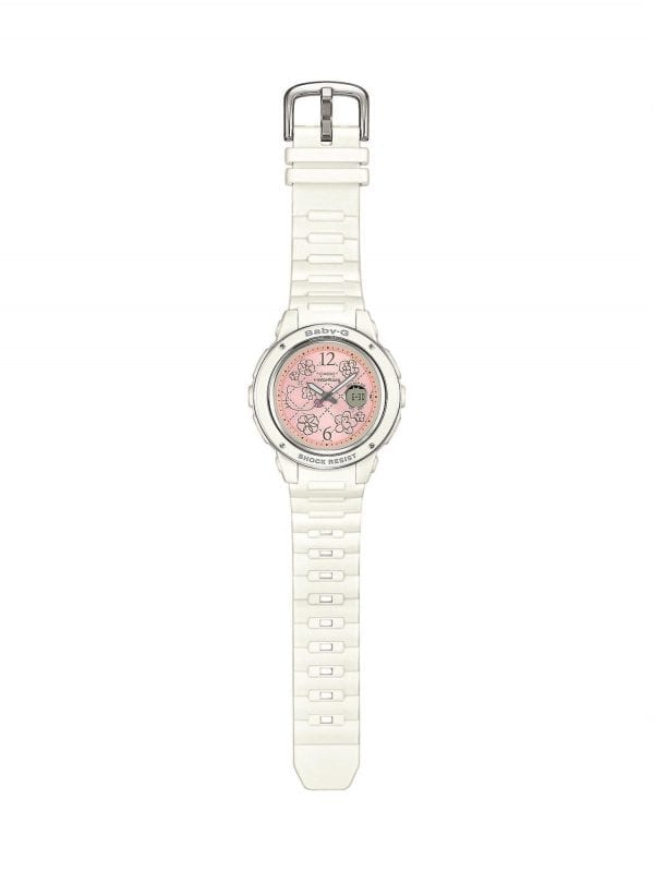 Casio Baby-G Hello Kitty Collaboration Quartz Pink Dial White Resin Ladies Watch BGA-150KT-7BER