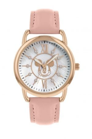 Disney Mickey Mouse Quartz Pink Leather Strap Gold PVD Case Girls Watch MK5055