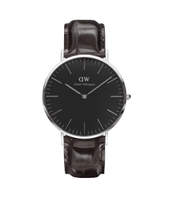 Daniel Wellington Classic Black York Silver Stainless Steel Case Brown Leather Strap Unisex Watch DW00100134 40mm
