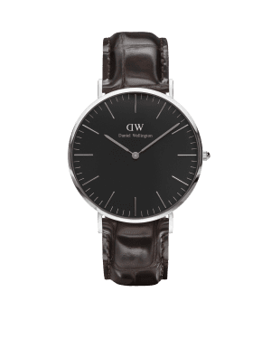 Daniel Wellington Classic Black York Silver Stainless Steel Case Brown Leather Strap Unisex Watch DW00100134 40mm