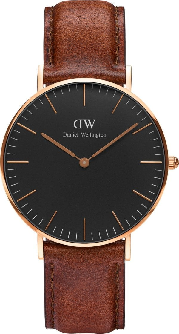 Daniel Wellington Classic Black St Mawes Rose Gold Plated Case Brown Leather Strap Unisex Watch DW00100136 36mm