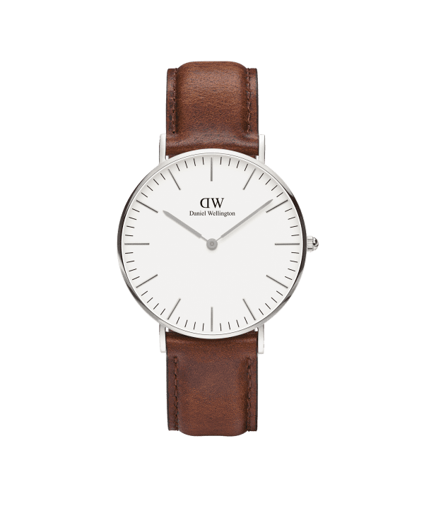 Daniel Wellington Classic St Mawes Silver Case Brown Leather Strap Unisex Watch DW00100052 36mm