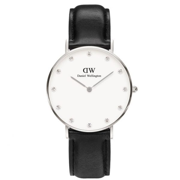Daniel Wellington Classy Sheffield Silver Case Diamante Dial Black Leather Strap Unisex Watch DW00100080 34mm