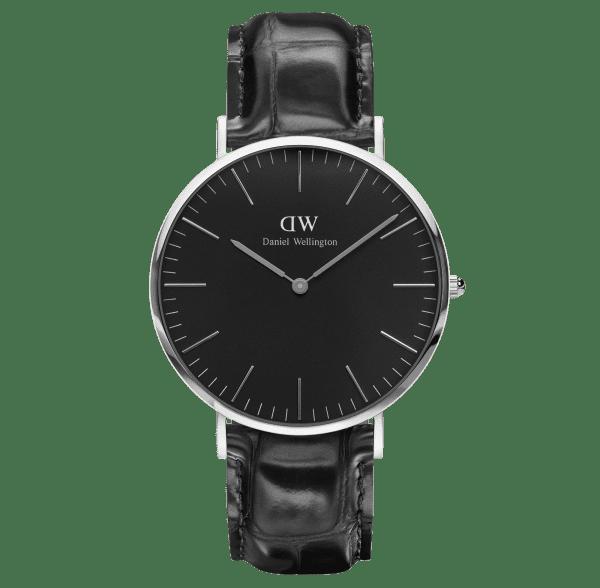 Daniel Wellington Classic Black Reading Silver Case Black Leather Strap Unisex Watch DW00100135 40mm