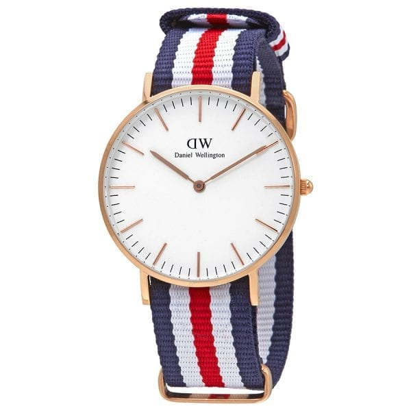 Daniel Wellington Classic Canterbury Rose Gold Plated Case Red White and Blue NATO Strap Unisex Watch DW00100030