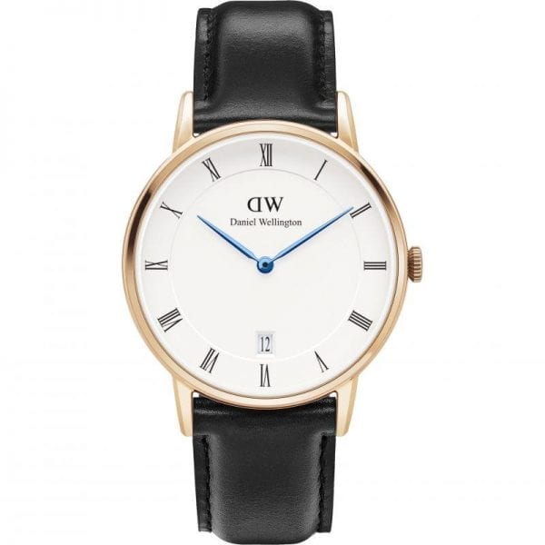 Daniel Wellington Dapper Sheffield Rose Gold Plated Case Black Leather Strap Mens Watch DW00100092 34mm