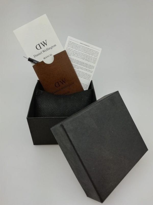 Daniel Wellington Dapper Reading Silver Case Black Leather Strap Mens Watch DW00100117 34mm