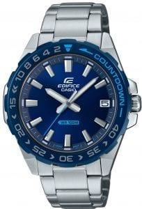 Casio Edifice Silver Stainless Steel Blue Dial Countdown Bezel Quartz Men's Watch EFV-120DB-2AVUEF 41mm