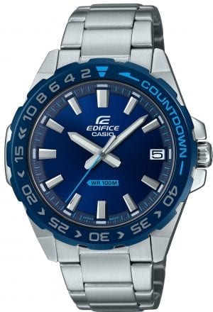 Casio Edifice Silver Stainless Steel Blue Dial Countdown Bezel Quartz Men's Watch EFV-120DB-2AVUEF 41mm