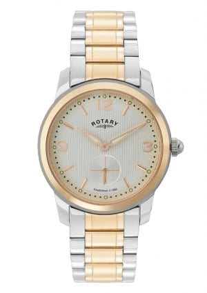 Rotary Cambridge Two Tone Strap ROSE GOLD Stainless Steel Case Men's Watch GB02701/01 37mmThisRotary Cambridge Two Tone Strap ROSE GOLD Stainless Steel Case Men's Watch (GB02701/01) 37mm makes a sleek and refined style statement. Featuring a stunningwhite dial, theGB02701/01 also has a sleek stainless steel bracelet and case. This results in a stunning timepiece that makes the perfect addition to any wrist.Key Features:Quartz MovementSplash ResistantPush Button ClaspThe Brand: RotaryFamed for his attention to detail and keen business acumen, Moise Dreyfuss established Rotary Watches in the Swiss town of La Chaux-de-Fonds in 1895. After a mere twelve years of trading, two further members of the Dreyfuss family, Georges and Sylvain, opened an office in Britain in order to facilitate the import of the family's watches. The UK proved to be the company's most lucrative market, and with sales booming, Rotary introduced its now iconic winged wheel logo in 1925. Following the outbreak of the Second World War, Rotary became the official timepiece supplier to the British Army, with the government's policy of mass conscription meaning that, once the war ended, there was a Rotary in practically every home. As the twentieth century progressed, Rotary became famed for its sponsorship of sporting events, the most notable of these being its partnership with the British Racing Motors F1 team in 1976 and its teaming up with Chelsea F.C. in 2015. Still operated and owned by the Dreyfuss family to this day, Rotary continues to produce the type of highly affordable and yet incredibly well-made timepieces that have defined the brand's output since its inception.