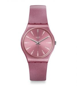 The Watch: Swatch Pastelbaya 34mm Case Ladies Watch GP154This Swatch Pastelbaya Unisex Watch (GP154) features a metallic style strap and sunbrushed pink dial. Key Features:Swiss-Made Quartz MovementPlastic CaseSilicone StrapSunbrushed DialWater Resistant to 30m The Brand: SwatchSwatch watches are globally-renowned for their trademark combination of quality Swiss watchmaking, pioneering use of plastic cases and straps, and eye-catching designs. There is a Swatch watch to suit every age, taste and lifestyle, with this variety and sense of difference ensuring that Swatch watches remain some of the most popular and sought after currently manufactured.
