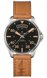 "The Watch: Hamilton Khaki Pilot Day Date Auto Brown Leather Strap Men's Watch H64645531It's impossible to recreate the thrill of being an early aviator, but with the newly released Hamilton Khaki Pilot Day Date Auto Brown Leather Strap Men's Watch (H64645531), Hamilton can certainly give you the look. Trademark Hamilton touches include the positioning of the day and date indicators at the 12 and 6 o'clock positions respectively, enhancing both legibility and providing an eye-catching finish. The exclusive Hamilton H-40 Calibre automatic ensures this timepiece's vintage styling is matched by stunning internal substance, resulting in a watch that is a true celebration of Hamilton's century of aviation watchmaking.Key Features:Exclusive H-40 Calibre Automatic MovementDay and Date WindowsGenuine Leather Strap Embossed with a Hamilton Aviation LogoPolished Stainless Steel CaseSuperluminova HandsEasy to Read DialWater Resistant to 100m The Family: Khaki AviationHamilton's rich heritage in aviation has allowed the brand, via its Khaki Aviation collection, to provide some of the most technically advance pilot-style timepieces currently on offer. These technical advances don't, however, come at the expense of style, as sleek and refined case constructions are teamed with attractive dials and comfortable and varying straps or bracelets. The Brand: HamiltonSince its foundation in 1892, Hamilton Watch Company have developed a reputation for being a provider of accurate timekeeping. Hence they earned the title of ""The Watch of Railroad Accuracy"", as a result of their highly accurate pocket watches.Hamilton earned a place in history, as they found themselves suppliers of watches to the US military in both world wars.The US Naval Lab invited the Hamilton Watch Company to create an American made chrono. There was a shortage of chronos available to the US Government during the First World War. Therefore they had to rely solely on European made pieces.For this reason Hamilton agreed in 1941 to undertake the work. Moreover, by 1944 Hamilton had produced more than 10,000 Chronometers in aid of the American War effort.Hamilton have developed a close relationship over the years with Hollywood. Hamilton watches have featured in over 450 films, beginning in 1951 with the Frogman watch. Other films include: Elvis Presley in 1961's 'Blue Hawaii' and in '2001: A Space Odyssey'. Furthermore, Hamilton have featured in films such as 'Interstellar' and 'The Martian'.In 2003 Hamilton moved their headquarters to a facility in Switzerland. They are still a global force within the timepiece industry. This is because Hamilton watches offer a combination of American heritage, Swiss internal workings and a touch of Hollywood flair.If you have any questions please click hereClick here to join our facebookand Instagram!"