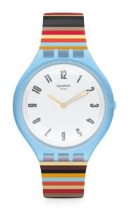 """Swatch Skinstripes Multicoloured Pattern Strap Ladies' Watch SVUL100Featuring Swatch's new ultra-thin, low-profile case construction, this Swatch Skinstripes White Dial Multicoloured Pattern Strap Ladies' Watch (SVUL100) will give an injection of colour to any wardrobe, with this eye-catching styling being underpinned by a precise and reliable quartz movement.Key Features:Swiss-Made Quartz MovementPlastic CaseSilicone StrapWater Resistant to 30mThe Brand: SwatchSwatch watches are globally-renowned for their trademark combination of quality Swiss watchmaking, pioneering use of plastic cases and straps, and eye-catching designs. There is a Swatch watch to suit every age, taste and lifestyle, with this variety and sense of difference ensuring that Swatch watches remain some of the most popular and sought after currently manufactured.Who We AreWatchNation is proud to be an authorized, established and respected supplier of Swatch watches. We stock a broad and exciting range of these superb timepieces both online and in store. Visiting us in store, located at 15-17 Charles Street, Hoole, Chester, CH2 3AZ, gives you the opportunity to take a first-hand look at our fantastic range of high-quality timepieces, with our friendly team of staff always on hand to use their decades of experience to offer helpful advice, useful information and expert guidance. If you can't pay a visit to our store, then our online delivery service guarantees that your latest timepiece will go from checkout to your wrist in a fast and reliable manner. These services are all a product of the motto on which WatchNation was founded and will forever operate – """"Time for the People."""""""