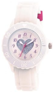 Tikkers Quartz White Rubber Strap Heart Dial Girls WatchThis Tikkers Quartz White Rubber Strap Heart Dial Girls Watch is perfect for girls looking to learn and tell the time. A small white dial features a silver glitter heart and is complimented by Arabic indexes and hands of which are powered by a quartz movement. The dial is surrounded by a plastic case and plastic glass for clear visibility. On-top of the case is a bezel which increases in 10 minute increments to further aid those looking to tell the time. Then, a white rubber strap can be easily fastened with a standard buckle.Key Features:TikkersTime TeacherQuartz MovementWhite DialWhite StrapStandard BuckleThe Brand: TikkersTikkers time teachers are the perfect accessory for any child. There is a whole host of Tikkers watches available for both boys and girls. Also, if they are learning to tell the time then this is a great way to do so! With so many different colours and styles coming with a durable fabric or silicone strap you are sure to find the right one.If you have any questions please click hereClick here to join our facebook and Instagram!