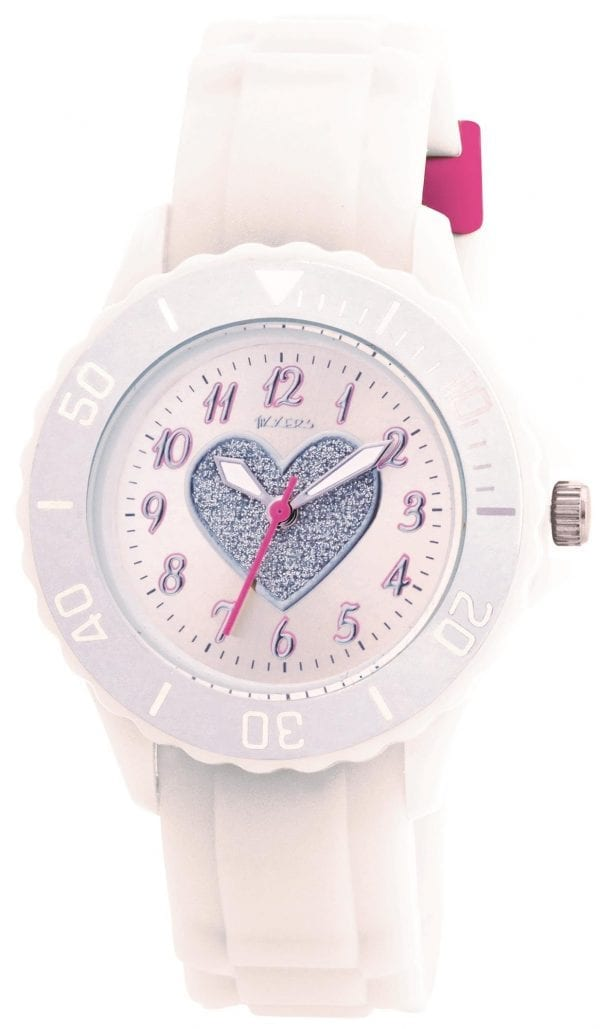 Tikkers Quartz White Rubber Strap Heart Dial Girls WatchThis Tikkers Quartz White Rubber Strap Heart Dial Girls Watch is perfect for girls looking to learn and tell the time. A small white dial features a silver glitter heart and is complimented by Arabic indexes and hands of which are powered by a quartz movement. The dial is surrounded by a plastic case and plastic glass for clear visibility. On-top of the case is a bezel which increases in 10 minute increments to further aid those looking to tell the time. Then, a white rubber strap can be easily fastened with a standard buckle.Key Features:TikkersTime TeacherQuartz MovementWhite DialWhite StrapStandard BuckleThe Brand: TikkersTikkers time teachers are the perfect accessory for any child. There is a whole host of Tikkers watches available for both boys and girls. Also, if they are learning to tell the time then this is a great way to do so! With so many different colours and styles coming with a durable fabric or silicone strap you are sure to find the right one.If you have any questions pleaseclick hereClick here to join ourfacebookandInstagram!