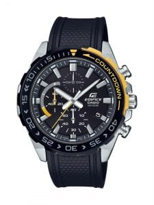 Casio Edifice Stainless Steel Black Resin Black Dial Chronograph Men's Watch EFR-566PB-1AVUEF 49mmThis Casio Edifice Stainless Steel Black Resin Black Dial Chronograph Men's Watch EFR-566PB-1AVUEF 49mm is a stunning fusion of Casio's watchmaking expertise and craftmanship. A blue dial features whitehands which are powered by a quartz movement and coated in a luminiscent material allowing for easy visibility in the dark. The dial also features three subdials, of which a chronograph is accurate up to 1/10th of a second and goes up to 60 minutes. The dial is protected by a stainless steel case and mineral glass. To equip this timepiece, a safety catch is fastened so that ablack resin strap sits comfortably around ones wrist.This watch has a water resistance of 100 metres, making it suitable for swimming.Key Features:Edifice FamilyAnalogue DisplayDay DisplayBlack Resin StrapQuartz MovementChronographNeo-DisplayStopwatch FunctionMineral GlassSafety Catch100m Water ResistantFolding ClaspThe Family: EdificeCasio's Edifice collection takes its aesthetic inspiration from F1 cars, resulting in a collection of timepieces that combine dynamic form with intricately detailed watch faces. Higher end models feature Casio's exclusive Multi Mission Drive movement, in which the watch is comprised of five separate motors to ensure that power is never diverted from the hands. Designed to offer what Casio say will be 'Speed and Intelligence,' the Edifice range offers motorsport precision engineering in a watch.The Brand: CasioCasio was established in 1946 by Japanese engineer Tadao Kashio. The company entered the timepiece market in 1974 with the release of the Casiotron, the world's first Auto Calendar watch. Only eleven years after entering this field, Casio completely reshaped global thought about the function a watch should perform with the release of the pioneering and now legendary G-Shock family. Innovation and world firsts have defined the company's history ever since, the most s