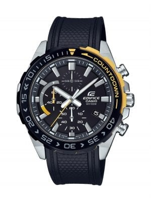 Casio Edifice Stainless Steel Black Resin Black Dial Chronograph Men's Watch EFR-566PB-1AVUEF 49mmThis Casio Edifice Stainless Steel Black Resin Black Dial Chronograph Men's Watch EFR-566PB-1AVUEF 49mm is a stunning fusion of Casio's watchmaking expertise and craftmanship. A blue dial features white hands which are powered by a quartz movement and coated in a luminiscent material allowing for easy visibility in the dark. The dial also features three subdials, of which a chronograph is accurate up to 1/10th of a second and goes up to 60 minutes. The dial is protected by a stainless steel case and mineral glass. To equip this timepiece, a safety catch is fastened so that a black resin strap sits comfortably around ones wrist.This watch has a water resistance of 100 metres, making it suitable for swimming.Key Features:Edifice FamilyAnalogue DisplayDay DisplayBlack Resin StrapQuartz MovementChronographNeo-DisplayStopwatch FunctionMineral GlassSafety Catch100m Water ResistantFolding ClaspThe Family: EdificeCasio's Edifice collection takes its aesthetic inspiration from F1 cars, resulting in a collection of timepieces that combine dynamic form with intricately detailed watch faces. Higher end models feature Casio's exclusive Multi Mission Drive movement, in which the watch is comprised of five separate motors to ensure that power is never diverted from the hands. Designed to offer what Casio say will be 'Speed and Intelligence,' the Edifice range offers motorsport precision engineering in a watch. The Brand: CasioCasio was established in 1946 by Japanese engineer Tadao Kashio. The company entered the timepiece market in 1974 with the release of the Casiotron, the world's first Auto Calendar watch. Only eleven years after entering this field, Casio completely reshaped global thought about the function a watch should perform with the release of the pioneering and now legendary G-Shock family. Innovation and world firsts have defined the company's history ever since, the most striking of these being the release of the first ever touch screen watch in 1991, 24 years before the Apple Watch, and the first ever wrist camera watch in 2000. In short, Casio was producing smartwatches decades before the term had even been coined. Add to this the hipster popularity of the company's retro designs, and Casio has firmly cemented its reputation as a famously reliable and precise name in both analogue and digital watches.