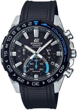 Casio Edifice Black Resin Steel Solar Chronograph Men's Watch EFS-S550PB-1AVUEFThis Casio Edifice Black Resin Stainless Steel Case Solar Chronograph Men's Watch EFS-S550PB-1AVUEF provides speed and intelligence. Providing dynamic, intelligent support for independent men set the pace ahead of the pack. The black dial is complimented by silver coloured indexes and hands which are powered by a solar movement. At the 12 o'clock position is the ever present Casio logo as well as the family of Edifice. Moreover, at the 3, 6 and 9 o'clock position are three chronographs which range from 24 hours to 30 seconds. Additionally, adjacent to the 4 o'clock index is a simplistic date window of the colours black and white. A steel case and sapphire glass is the used to protected the dial with a countdown timer on top of the bezel. A black resin strap can then be fastened using a standard buckle.Additionally, this watch has a water resistance of 100 metres, making it suitable for swimming and snorkelling.Key Features:Edifice FamilyBlack Resin StrapSilver Stainless Steel CaseSolar MovementChronographDate WindowSapphire Crystal GlassNeo DisplayStopwatchAnti-Reverse BezelScrew Locked BackStandard Buckle100m Water ResistantBattery Level IndicatorThe Family: EdificeCasio's Edifice collection takes its aesthetic inspiration from F1 cars, resulting in a collection of timepieces that combine dynamic form with intricately detailed watch faces. Furthermore, higher end models feature Casio's exclusive Multi Mission Drive movement, in which the watch is comprised of five separate motors to ensure that power is never diverted from the hands. In summary, designed to offer what Casio say will be 'Speed and Intelligence,' the Edifice range offers Motorsport precision engineering in a watch.The Brand: CasioCasio was established in 1946 by Japanese engineer Tadao Kashio. Firstly, the company entered the timepiece market in 1974 with the release of the Casiotron, the world's first Auto Calendar watch.