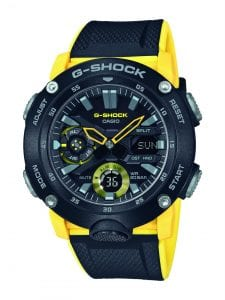 """Casio G-Shock Carbon Core Guard Black Yellow Mens Watch GA-2000-1A9ER 49mmThisCasio G-Shock Carbon Core Guard Black Yellow Mens Watch GA-2000-1A9ER 49mm uses the new carbon core guard structure, to combine urban outdoor style with a sleek look. The dial uses both digital and analogue displays to portray the functions that this watch provides. At the 12 o'clock position is the ever present Casio G-Shock logo with a digital day window at the 3 o'clock position. At the 6 o'clock position is a small digital display which can be used as a timer or stopwatch. This dial is protected by a reinforced carbon fibre case and mineral glass. Finally, a black resin strap with yellow accents is fastened using a standard buckle to sit comfortably around ones wrist.This watch has a water resistancy of 200 metres, making it suitable for swimming and diving.Key Features:G-Shock FamilyBlack/Yellow ColouredCarbon Fibre Reinforced CaseFront LightResin MaterialAnalogue DisplayLCD Sub-DisplaySubdialFabric BandLED LightShock ResistantWorld TimeStopwatchTimerDaily AlarmsMineral Glass200m Water ResistantCarbon CaseStandard BuckleDay/Date DisplaySolar MovementThe Family: G-ShockAt a time when watches were seen as fragile, delicate instruments, Casio's head of watch design, Kikuo Ibe, set out in 1981 to create """"a watch that doesn't break, even when dropped."""" After 200 prototypes and two years of development, the Casio G-Shock was launched in 1983. Gaining its now legendary toughness from Ibe's revolutionary decision to suspend the module inside a hollow rubber structure, the G-Shock has been the go-to name in superbly durable and precise wristwear ever since.The Brand: CasioCasio was established in 1946 by Japanese engineer Tadao Kashio. The company entered the timepiece market in 1974 with the release of the Casiotron, the world's first Auto Calendar watch. Only eleven years after entering this field, Casio completely reshaped global thought about the function a watch should perform with the re"""