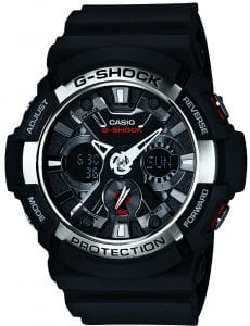 "Casio G-Shock Black Resin Quartz Alarm Chronograph Men's Watch GA-200-1AER 52mmThis Casio G-Shock Black Resin Quartz Alarm Chronograph Men's Watch GA-200-1AER 52mm provides absolute toughness to the G-Shock family. The dial features an 'X' pattern to add more detail and depth to the dial. At the 3 o'clock position is a digital LCD subdial which is used to display the day of the week in three letter abbreviations. At the 9 o'clock position is another digital LCD subdial which can be used to display the date and month. At the 12 o'clock position is the ever present Casio G-Shock logo. Surrounding the dial is a black resin case and mineral glass. Finally, a back resin strap can be fastened using a standard buckle.This watch has a water resistance of 200 metres, making it suitable for swimming and diving.Key Features:G-Shock FamilyBlack Resin StrapBlack Resin Case AlarmChronographDay/Date DisplayAnalogue/Digital Hybrid DisplayStandard Buckle LED BacklightWorld TimeDual TimeMineral Glass200m Water Resistant24 Hour Dial   The Family: G-ShockAt a time when watches were seen as fragile, delicate instruments, Casio's head of watch design, Kikuo Ibe, set out in 1981 to create ""a watch that doesn't break, even when dropped."" After 200 prototypes and two years of development, the Casio G-Shock was launched in 1983. Gaining its now legendary toughness from Ibe's revolutionary decision to suspend the module inside a hollow rubber structure, the G-Shock has been the go-to name in superbly durable and precise wristwear ever since.The Brand: CasioCasio was established in 1946 by Japanese engineer Tadao Kashio. The company entered the timepiece market in 1974 with the release of the Casiotron, the world's first Auto Calendar watch. Only eleven years after entering this field, Casio completely reshaped global thought about the function a watch should perform with the release of the pioneering and now legendary G-Shock family. Innovation and world firsts have defined the company's history ever since, the most striking of these being the release of the first ever touch screen watch in 1991, 24 years before the Apple Watch, and the first ever wrist camera watch in 2000. In short, Casio was producing smartwatches decades before the term had even been coined. Add to this the hipster popularity of the company's retro designs, and Casio has firmly cemented its reputation as a famously reliable and precise name in both analogue and digital watches."